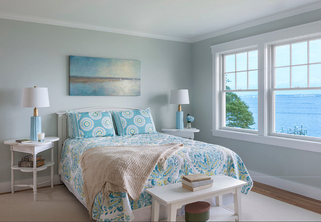 Cottage bedroom paint color. Beach cottage bedroom paint color. Blue gray cottage bedroom paint color. Cottage bedroom paint color ideas. #Cottage #bedroom #paintcolor Davitt Design Build, Inc. Nat Rea Photography.
