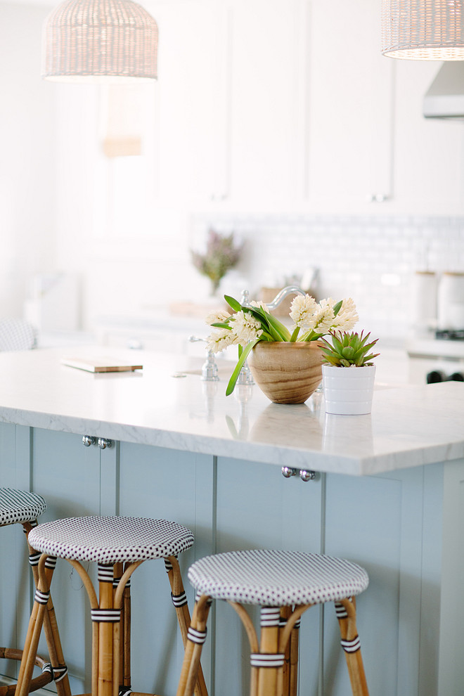 Light Blue by Farrow & Ball. Farrow and Ball Light Blue. Farrow and Ball Light Blue Kitchen. Farrow and Ball Light Blue Kitchen Cabinet Paint Color. The kitchen island paint color is Farrow and Ball Light Blue. #FarrowandBallLightBlue #FarrowandBallPaintColors Rita Chan Interiors.