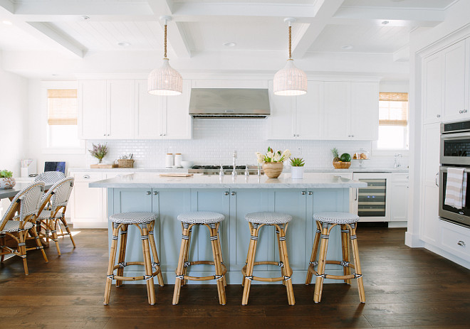 Inspiring White Kitchen with Light Blue Kitchen Island White cabinets