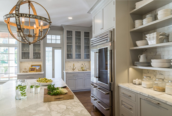Gray Kitchen Marble. Gray Kitchen Marble Countertop. Gray Kitchen Marble Countertop and Backsplash. Gray Kitchen Marble Countertop and Backsplash is Calacatta d'Oro marble. #CalacattadOro #marble #GrayKitchen #Backsplash #Countertop Heydt Designs. Benjamin Dhong Interiors.