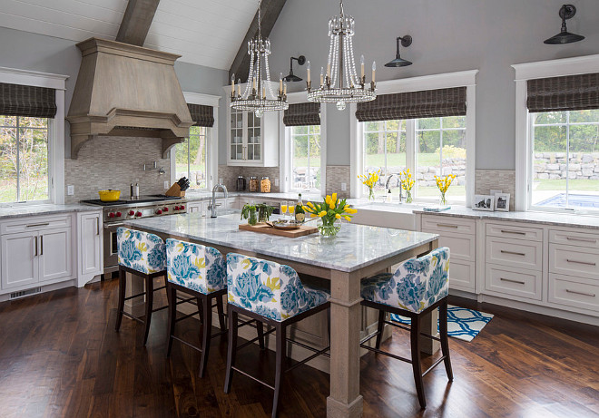Wirebrushed White Oak with Gray Stain Kitchen Hood and Island. Wirebrushed White Oak with Gray Stain Kitchen Ideas. Wirebrushed White Oak with Gray Stain Cabinet. #Wirebrushed #WhiteOak #Gray #Stain #Cabinet #Kitchen  Martha O'Hara Interiors.