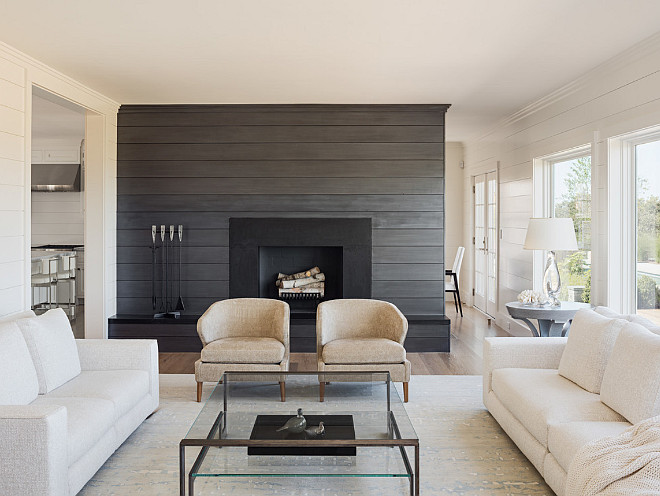 Living Room Shiplap Fireplace Wall. Living room shiplap paneling wall. Living room shiplap paneling wall paint color. Living room with shiplap wall painted in a charcoal gray color. #Livingroom #Shiplap #Fireplace Sophie Metz Design.