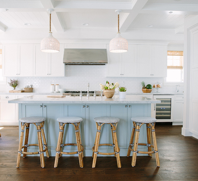 White Kitchen with Turquoise Blue Island. Coastal White Kitchen with Turquoise Blue Island. Turquoise Kitchen Island. #Coastal #CoastalInteriors #CoastalKicthen #Turquoise #Interiors #WhiteKitchen #TurquoiseIsland Rita Chan Interiors.