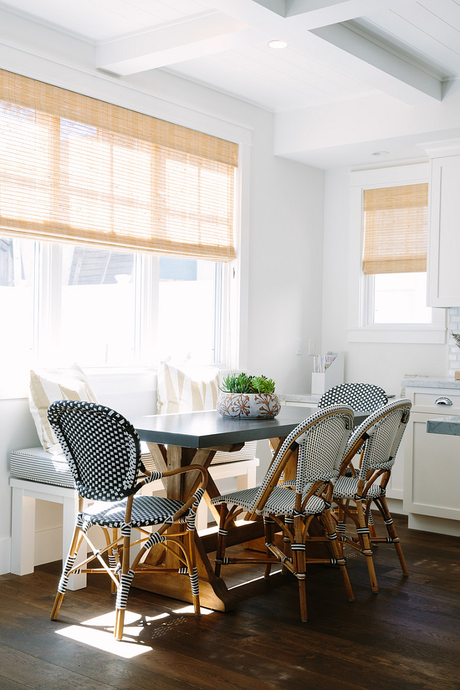 Breakfast Nook. Breakfast Nook with Serena and Lily French Bistro Chairs. Breakfast Nook with Serena and Lily French Bistro Chairs. Riviera Chairs by Serena & Lily. #RivieraChairs #SerenaandLily #BistroChairs #FrenchBistroChairs #BreakfastNook Rita Chan Interiors.