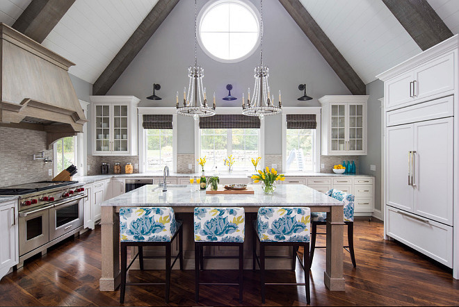Kitchen Cathedral Ceiling Lighting. The lighting in this kitchen is Joe Nye Regency Style Chandelier SN5107 in Sheffield Nickel from Circa Lighting. #JoeNye #RegencyStyleChandelier #SN5107 #SheffieldNickel #CircaLighting Martha O'Hara Interiors.