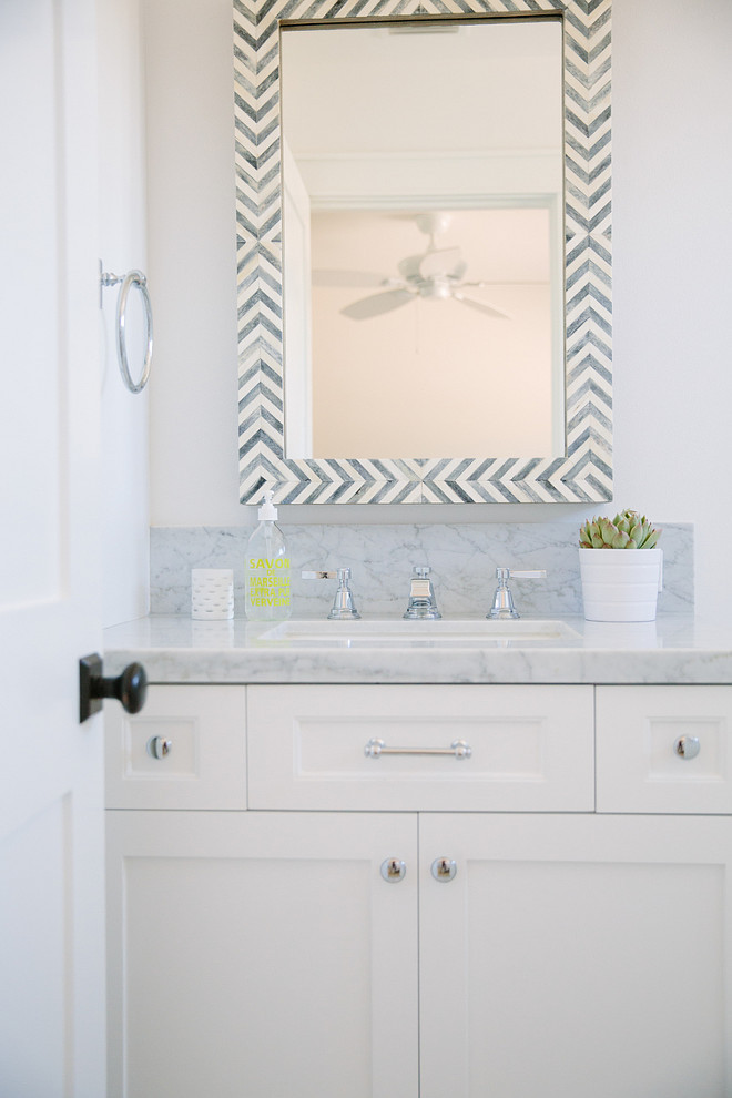 Parsons Wall Mirror - Gray Herringbone. West Elm Parsons Wall Mirror - Gray Herringbone. Bathroom with Parsons Wall Mirror - Gray Herringbone. #ParsonsWallMirror #GrayHerringbone #WestElm #Bathroom Rita Chan Interiors.