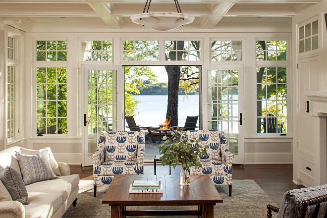 Living Room Windows and Doors. Living room with floor to ceiling doors and French doors with transoms. Marvin Ultimate Windows and Doors. Aluminum clad exterior. #windows #doors #transoms #MarvinWindows John Kraemer & Sons.