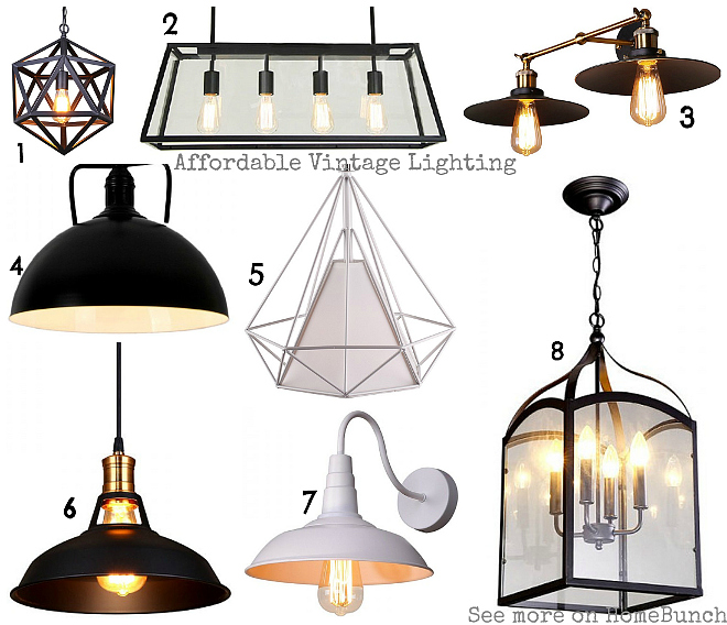 "Affordable Vintage Lighting. 1: Vintage Industrial Style Matte Black Iron Cage Pendant Light. $167 2: Linear Chandelier: 4 Lights Vintage Industrial Style Pendant Light with Metal Framed Glass Box. $366 3: 8.27"" Two Lights Vintage Industrial Style Umbrella Shade Wall Sconce. $44 4: Rustic Industrial Style Pendant Light with Black Dome Shade: $60 5: Creative Diamond Shape Shade Pendant Light with Two Colors Available. $58 6: Retro Industrial Style Black Pot Cover Shape Pendant Light. $35 7: Large Size Retro Industrial Style White Pot Cover Shape Wall Sconce. $41 8: Four Lights Rustic Style Pendant Light with Cuboids Glass Shade. $129"