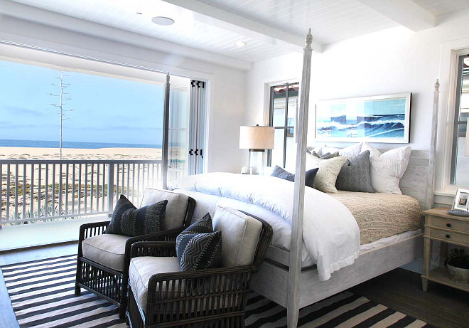 Beach House Bedroom. Beach house bedroom with ocean and sand view. #Beachhouse #Bedroom #OceanView #OceanFront #Masterbedroom Graystone Custom Builders.