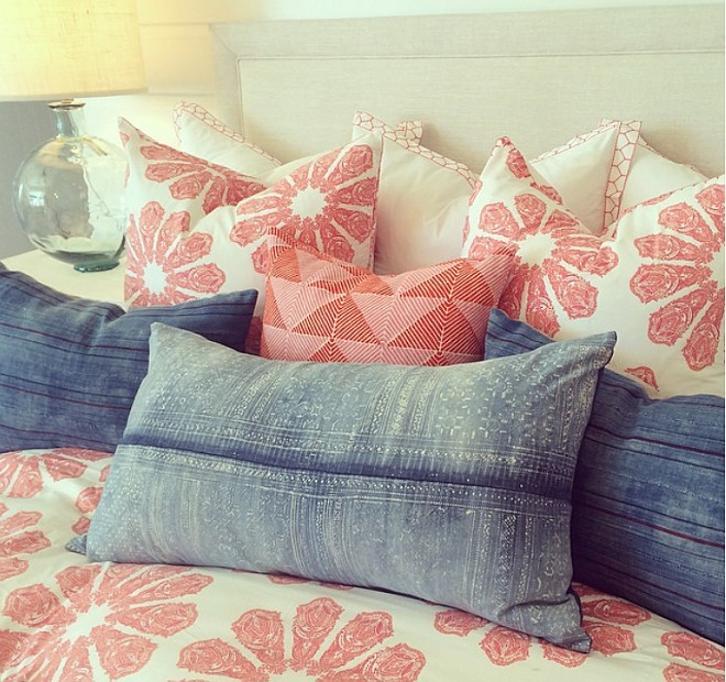 Bedroom Pillow Ideas. Beautiful bedroom pillow combination. Pillows are John Robshaw and vintage. Rita Chan Interiors.