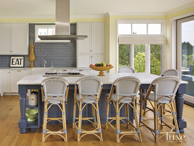 Blue Kitchen Island Paint Color. Royal Blue kitchen island. Kitchen island Blue. Blue island and white cabinets. Blue kitchen island with Wicker stools by Serena and Lily. GR Interiors.