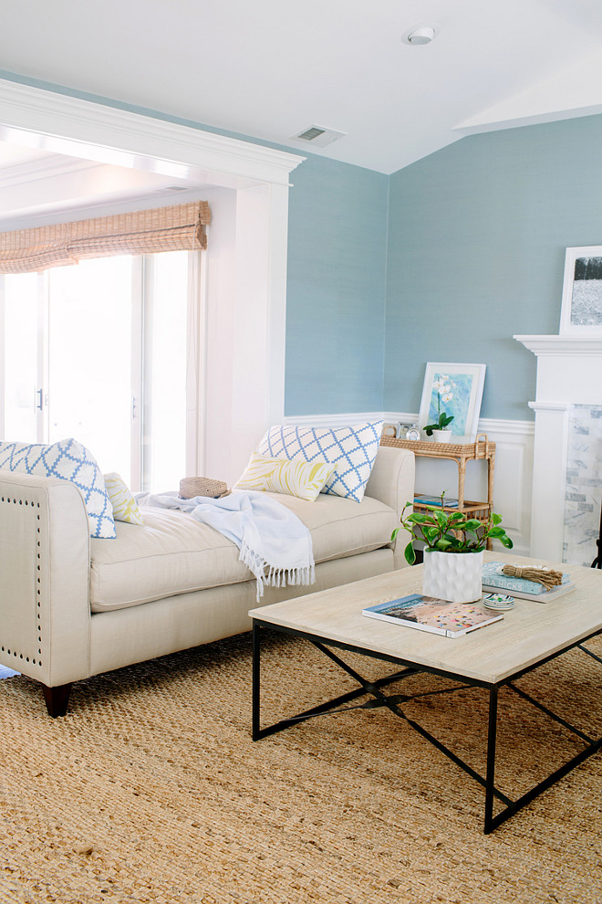 Blue Living Room Paint Color. Blue Living Room Wall Paint Color. Coastal living room with blue wall paint color. #Blue #paintColor #Livingroom Rita Chan Interiors.