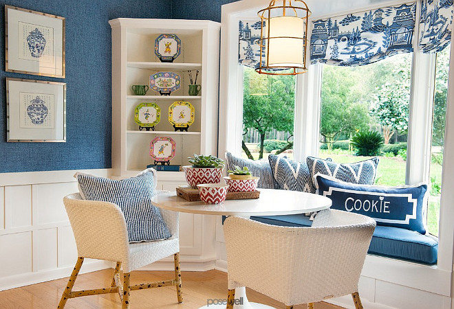 Blue and white breakfast Nook. Blue and white breakfast Nook with bay windows. #Blueandwhite #breakfastNook Troy Spurlin Interiors.