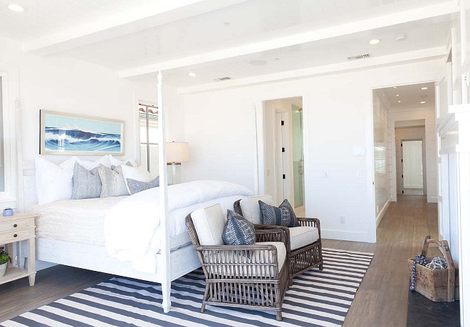 Blue and white coastal bedroom. Blue and white coastal master bedroom. Blue and white coastal master bedroom with fireplace. #Blueandwhite #coastal #masterbedroom