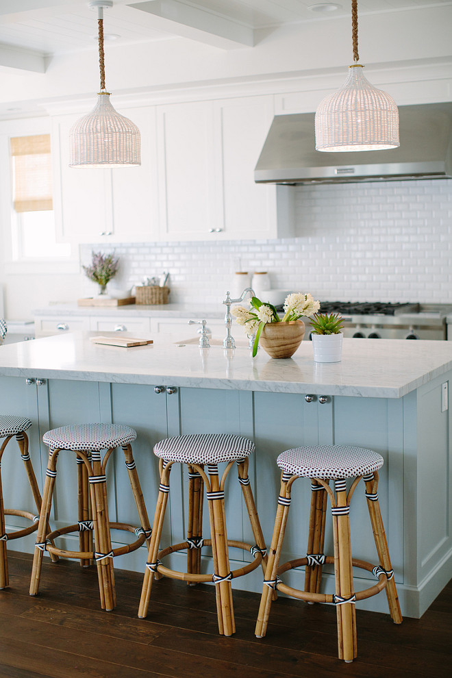 Blue kitchen island with marble countertop. Blue kitchen island paint color. Rita Chan Interiors.