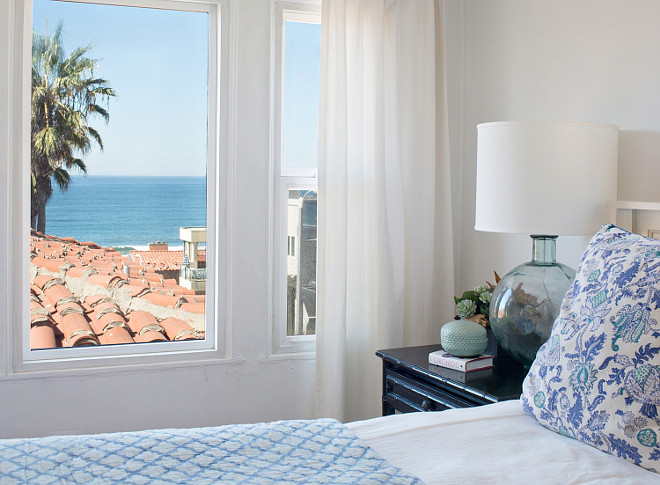 Blue, white and turquoise bedroom with ocean view. #Blue #White #Turquoise #Bedroom Rita Chan Interiors.