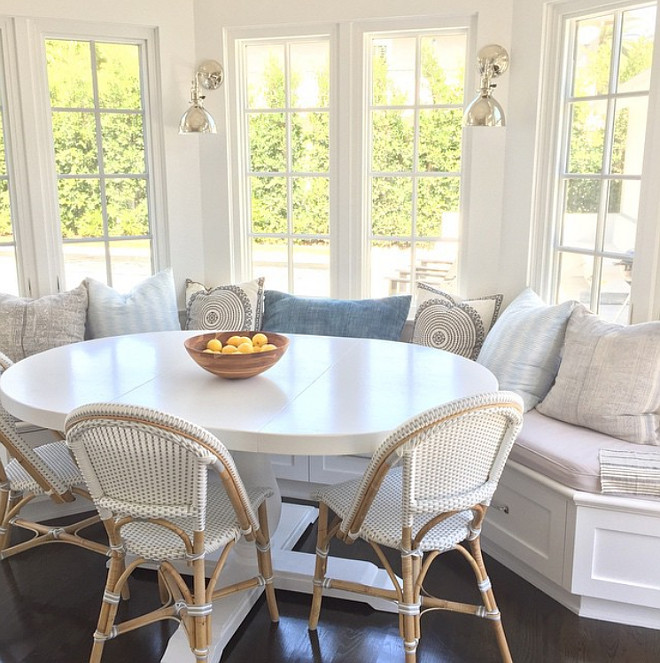 Breakfast Nook with White Table. Breakfast nook white table and Serena and Lily French Bistro Chairs in Fog. #BreakfastNook #WhiteTable #SerenaandLily #BistroChairs Rita Chan Interiors Instagram Photos