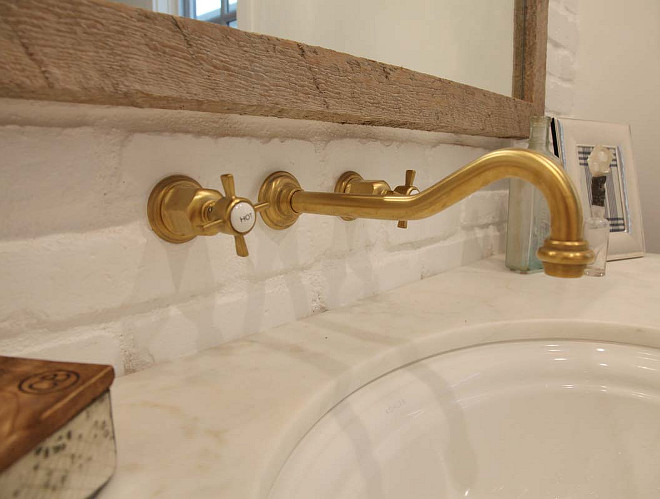 Brushed Brass Wall-Mount Bathroom Sink Faucet. Factory Drop-Ship Two Handles Brushed Brass Wall-Mount Bathroom Sink Faucet. Graystone Custom Builders.