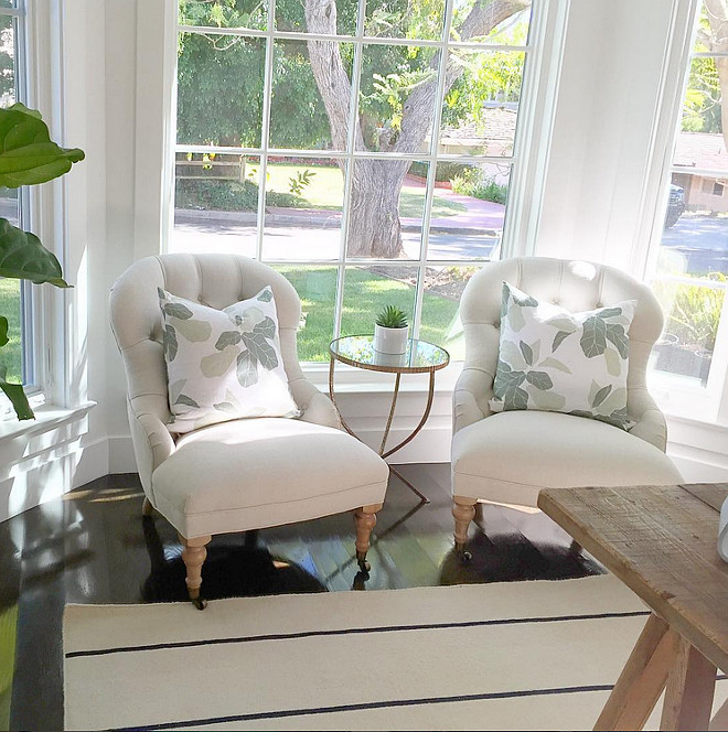 Chair and pillow ideas. Chair and pillow combination. Chairs are by Serena and Lily and the fiddle leaf pillows are Studio McGee. Rug is by Jaipur. Rita Chan Interiors Instagram Photo.