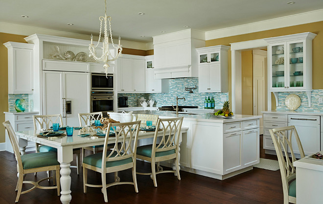 Coastal Kitchen Layout White With T Shaped Island And