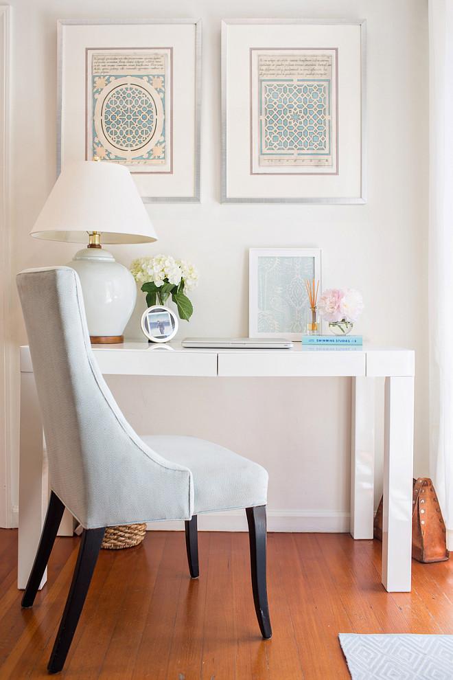 Desk. White desk with blue aqua turquoise decor. Rita Chan Interiors.