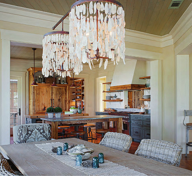 Dining Room Lighting Ideas. Beach house lighting ideas. Lowcountry Originals Wassau Shell Double Drum Chandelier.The price for the lighting is around $3,600.00. Interiors by Gregory Vaughan, Kelley Designs, Inc. Photos by Atlantic Archives, Inc.