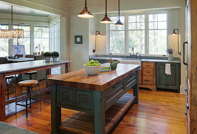 Farmhouse Kitchen Island. Farmhouse table style kitchen island with butchers block countertop. #Farmhouse #KItchen #Island #KitchenIsland Interiors by Gregory Vaughan, Kelley Designs, Inc. Photos by Atlantic Archives, Inc.
