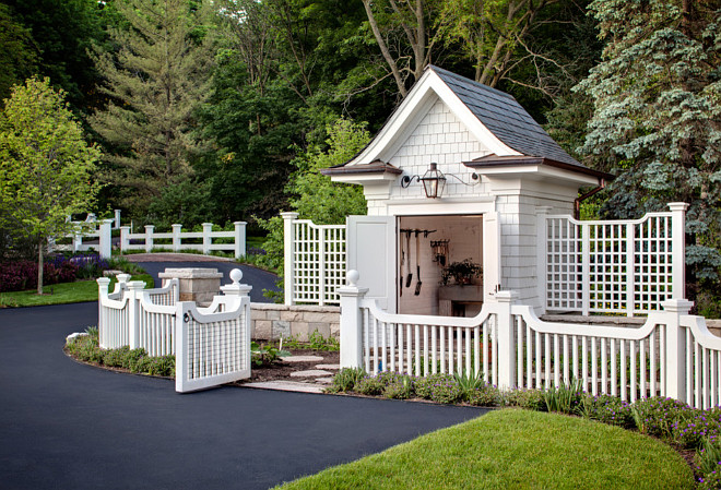 Garden Shed. Garden shed ideas. Shingle style garden shed with picket fence. Garden shed with garden tool organizer. #Garden #Shed Wade Weissmann Architecture. David Bader Photography.