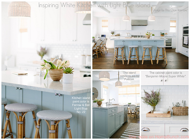 Inspiring White Kitchen with Light Blue Island. The combination of soft colors and timeless elements create a calm and inviting feel in this kitchen. Designed by Rita Chan Interiors.