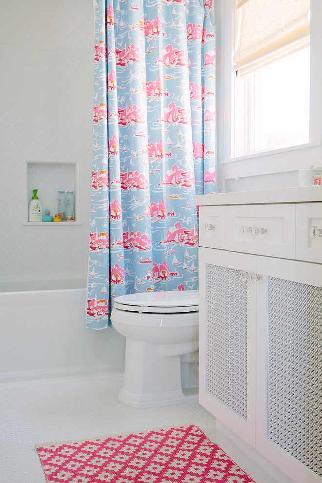 Kids Bathroom. Kids Bathroom Decor. Kids Bathroom Shower Curtain and Mat Ideas. Shower curtain is Serena and Lily Skylake Toile Shower Curtain. #KidsBathroom Rita Chan Interiors.