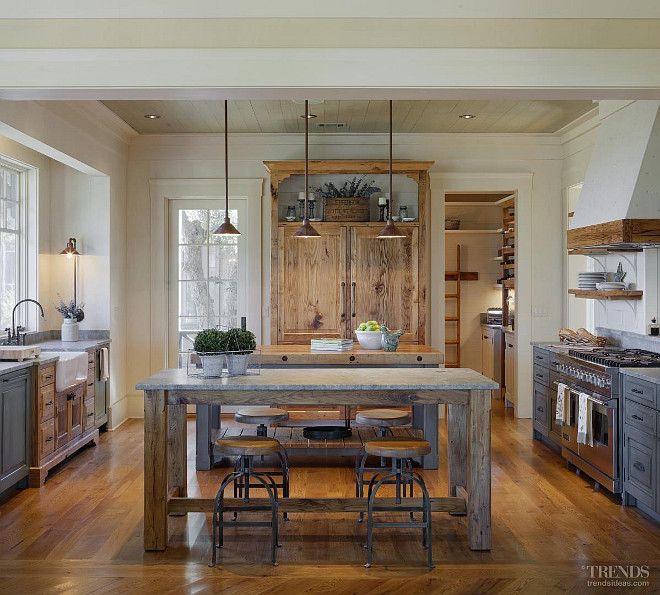 Kitchen. Kitchen Lighting. Rustic kitchen lighting. The light fixtures in this kitchen were fabricated by local artisans. Picture via Kitchen TRENDS. Interiors by Gregory Vaughan, Kelley Designs, Inc. Photos by Atlantic Archives, Inc.