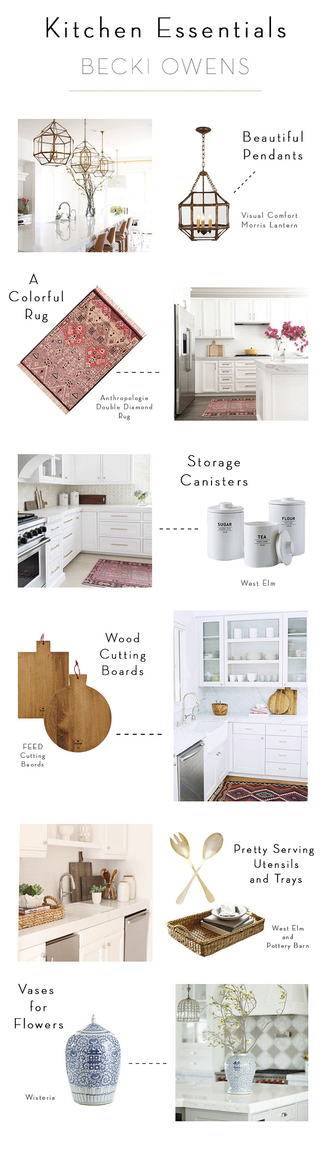Kitchen Essentials by Becki Owens. Kitchen Guide. Kitchen Tips. #Kitchen #Essentials #Guide #DesignerTips #InteriordesignTips Becki Owens.