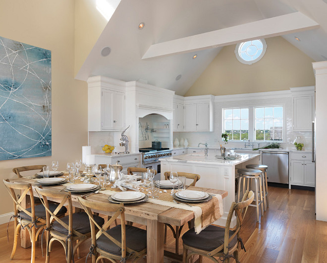 Kitchen Ideas. Coastal Kitchen Ideas. Open Coastal Kitchen with white cabinets and dining area. #OpenKitchen #CoastalKitchen #Kitchen #WhiteKitchen Davitt Design Build, Inc. Nat Rea Photography.