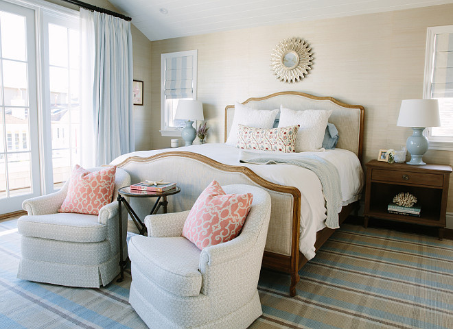 Master Bedroom. Coastal Bedroom with Restoration Hardware Bed. Dash and Albert Rug. Raoul Textiles. Rita Chan Interiors.
