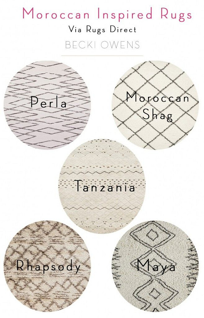 Moroccan Inspired Rugs. List of popular Moroccan inspired Rugs. #Moroccan #Rugs Becki Owens.
