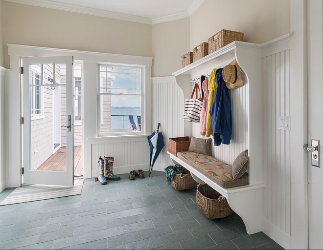 Mud room Flooring. Low maintenance mud room flooring. Low maintenance mud room flooring ideas. Low maintenance mud room tile flooring. Slate Flooring. Slate Tile Mudroom Flooring. Davitt Design Build, Inc. Nat Rea Photography.