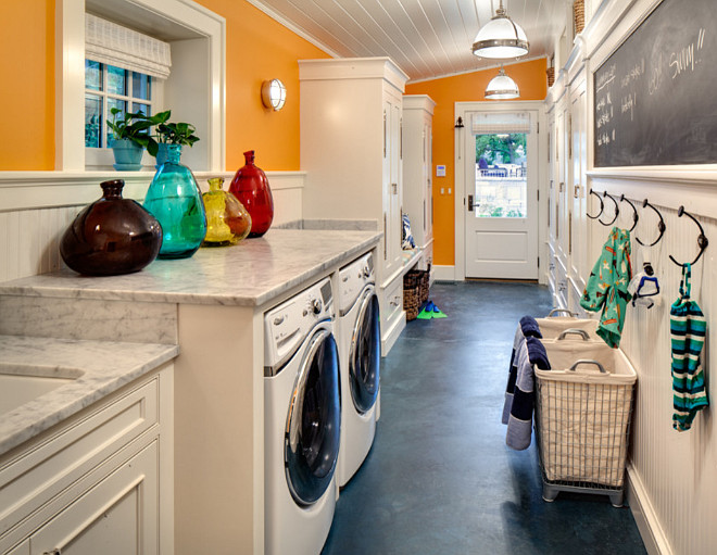 Narrow Laundry Room Layout. Narrow laundry room and mud room combined. Galley laundry Room. Galley mud room. #Narrow #LaundryRoom #Mudroom #Galley Wade Weissmann Architecture. David Bader Photography.