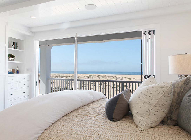Ocean view bedroom. Sleep seeing the ocean- this is the dream! #OceanView #Bedroom #BeachHouse Graystone Custom Builders.