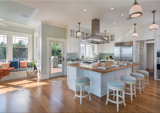 Open Kitchen Layout. Open kitchen with ocean view. Coastal kitchen with open layout. Open coastal kitchen and breakfast room. #Open #Kitchen #Layout #Coastal Davitt Design Build, Inc. Nat Rea Photography.