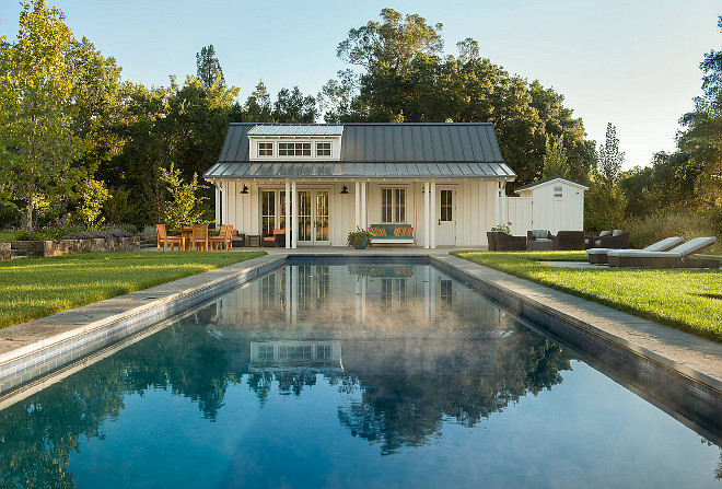 Pool and Pool House. Farmhouse backyard pool and pool house. #pool #PoolHouse #Backyard #Farmhouse Moller Architecture, Inc.