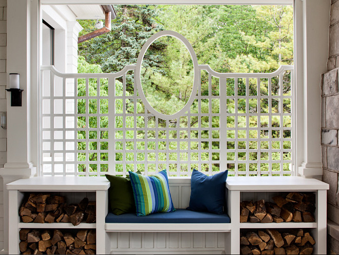 Porch Built in Bench by fireplace. Wade Weissmann Architecture. David Bader Photography.