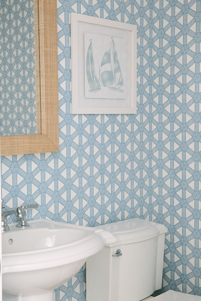 Powder Room Wallpaper. Powder Room with Blue wallpaper. Wallpaper is Sasa Robins Egg on White by Meg Braff Designs. #powderroom #wallpaper #bluewallpaper Rita Chan Interiors.