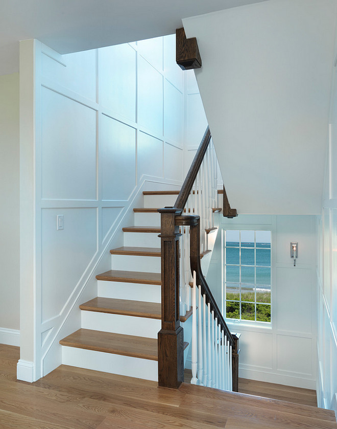 Staircase Paneling Wall Ideas. Wall Panels Staircase Design Ideas. Wainscoting Stairs. Davitt Design Build, Inc. Nat Rea Photography.