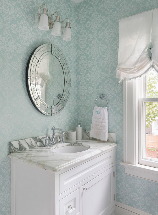 Turquoise Wallpaper. Powder room with light turquoise wallpaper. The light turquoise wallpaper is a York wallpaper. #Wallpaper #Turquoise Davitt Design Build, Inc. Nat Rea Photography.