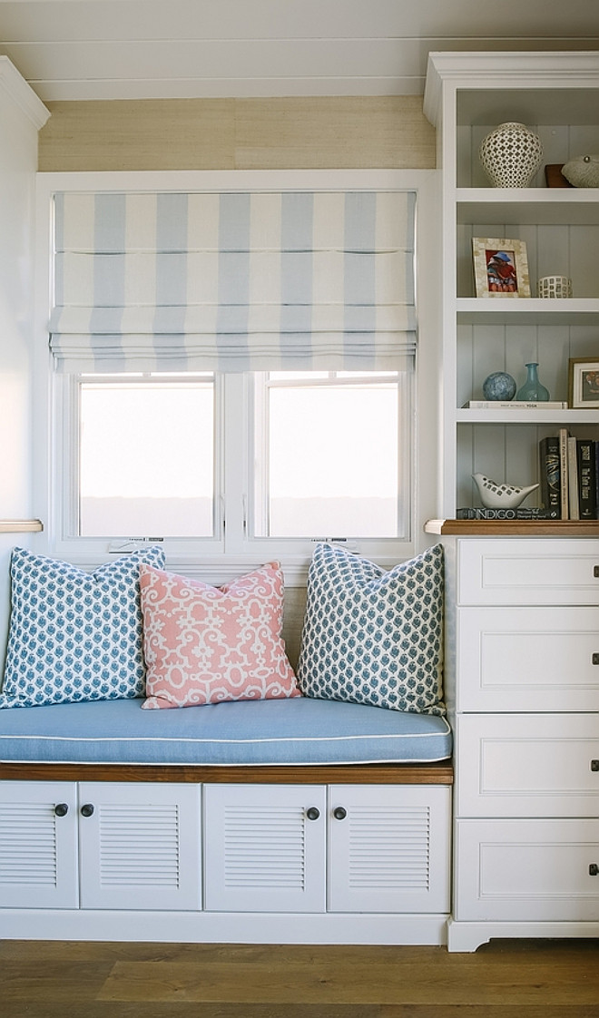 Window seat bookcase. Beach house Window seat bookcase ideas. #Windowseat #bookcase #beachhouse Rita Chan Interiors.