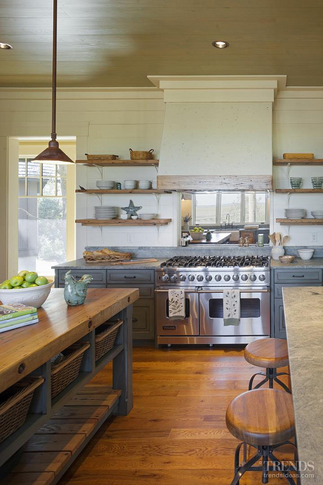 rustic open kitchen designs rustic cottage with neutral interiors home bunch 161