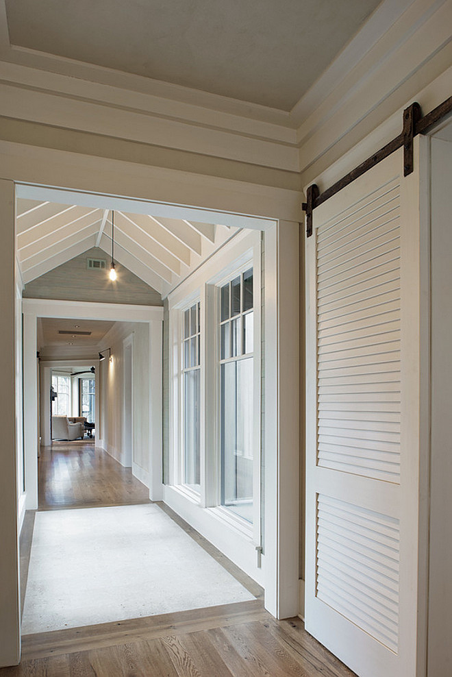 Benjamin Moore Bone White. Benjamin Moore Bone White. Barn door and trim paint color (thought-out the house) is Benjamin Moore Bone White. #BenjaminMooreBoneWhite Wayne Windham Architect, P.A. Interiors by Gregory Vaughan, Kelley Designs, Inc. Photos by Atlantic Archives, Inc.