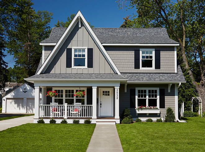 Gray Home Exterior Paint Color. Gray Exterior Paint Color. Gray Exterior Paint Color Ideas. The gray exterior paint color is James Hardie lap siding in the Aged Pewter prefinished color. #Gray #Exterior #paintColor Anchor Builders.