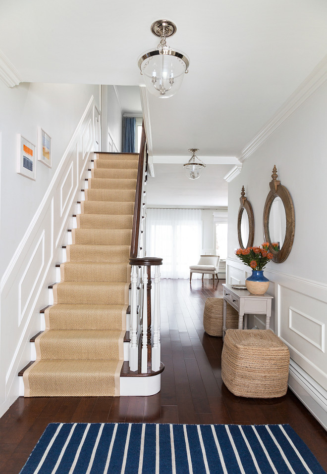 Beach House Foyer : Beach house with subtle blue and white interiors home