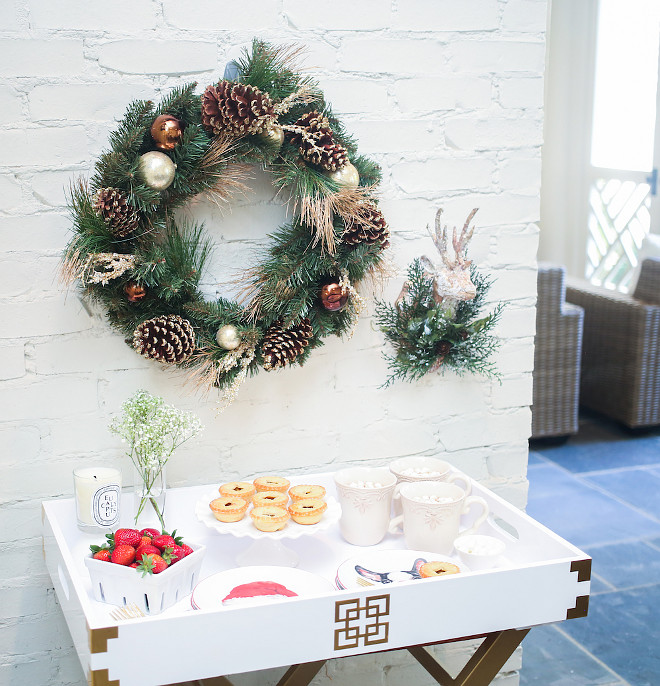 Christmas dessert station. Rather than using your kitchen counter to display dessert, pull out a bar cart or serving tray to make a sweet presentation of all your delicious desserts. You can pull this alongside your dining time or set it up by the fireplace for a warm nightcap! #Christmas Fashionable Hostess.
